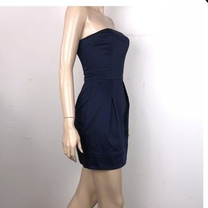 French connection strapless navy dress